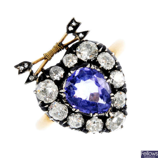 An early Victorian Sri Lanka colour-change sapphire and diamond heart ring.