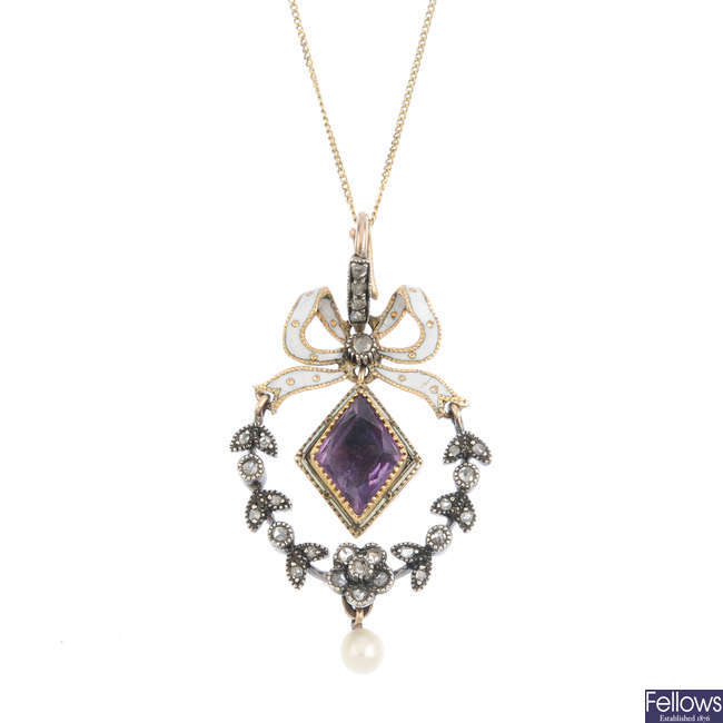 An early 20th century enamel, diamond and gem-set pendant.