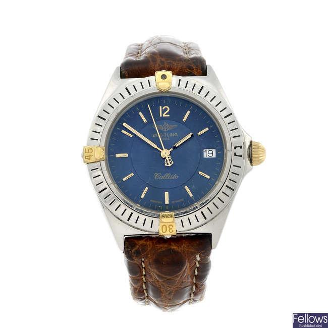 BREITLING - a gentleman's stainless steel Windrider Callisto wrist watch.