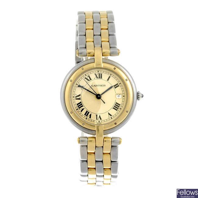CARTIER - a bi-metal Vendome bracelet watch.