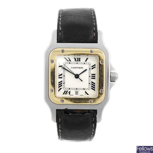 CARTIER - a bi-metal Santos wrist watch.
