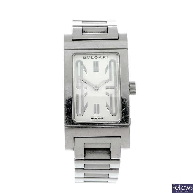 BULGARI - a lady's stainless steel Rettangolo bracelet watch.