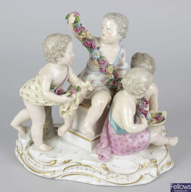 A late 19th century Meissen figure group.