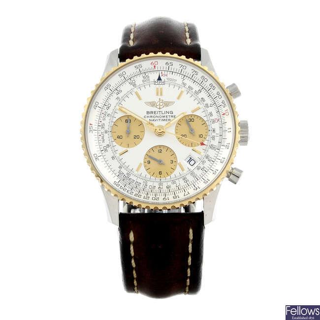 BREITLING - a gentleman's bi-metal Navitimer chronograph wrist watch.