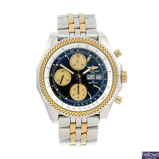 BREITLING - a gentleman's bi-metal Breitling For Bentley GT chronograph bracelet watch.