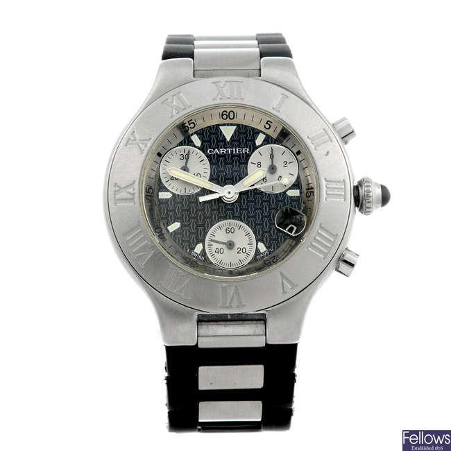 CARTIER - a stainless steel Chronoscaph 21 wrist watch.