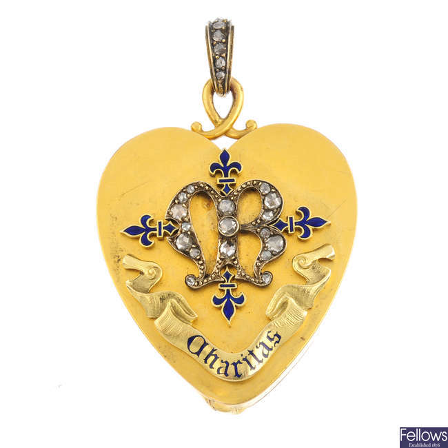 A late Victorian gold diamond and enamel heart locket.