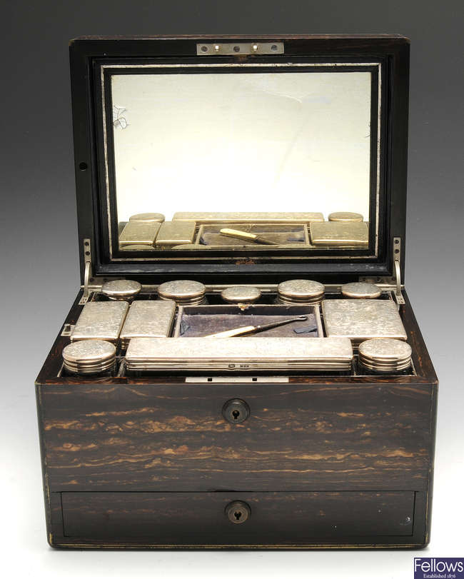 A late Victorian rosewood veneer travelling vanity case.