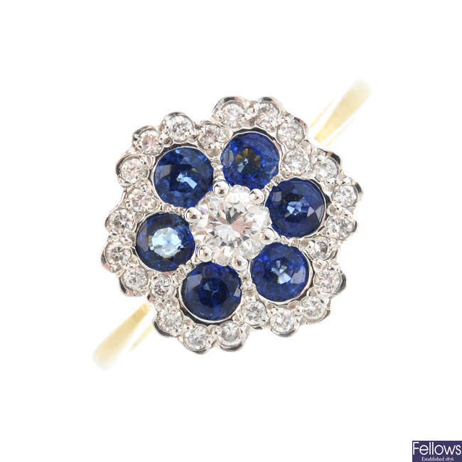 An 18ct gold diamond and sapphire floral cluster ring.