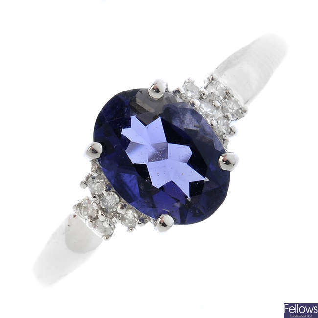 A 9ct gold iolite and diamond dress ring.