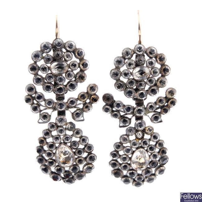 A pair of late Georgian paste earrings.