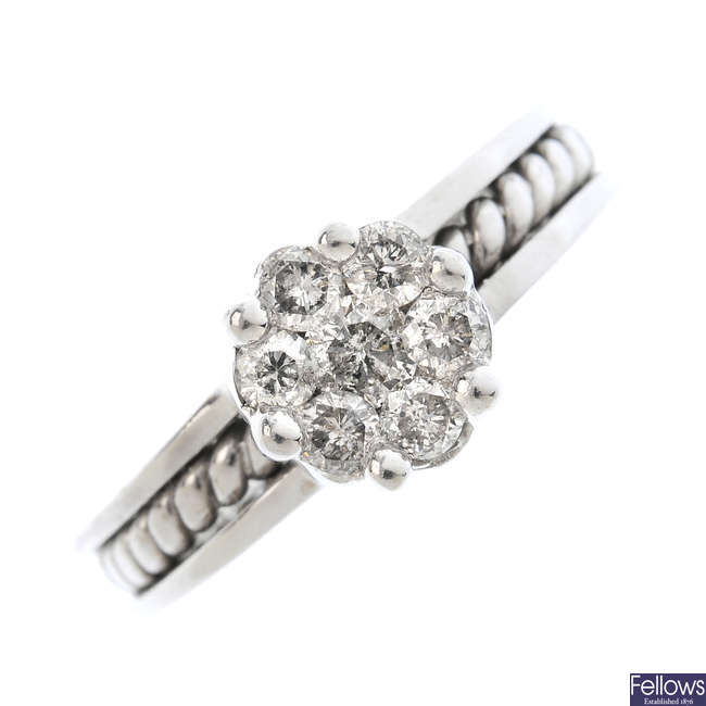 A 14ct gold diamond floral cluster ring.
