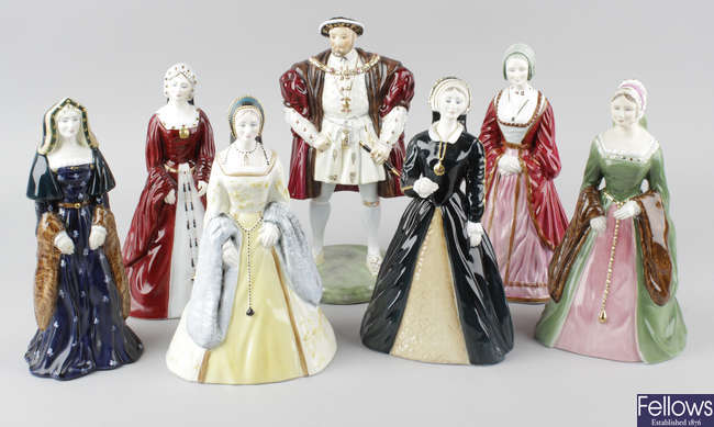 A group of seven Coalport Royal Collection figurines.