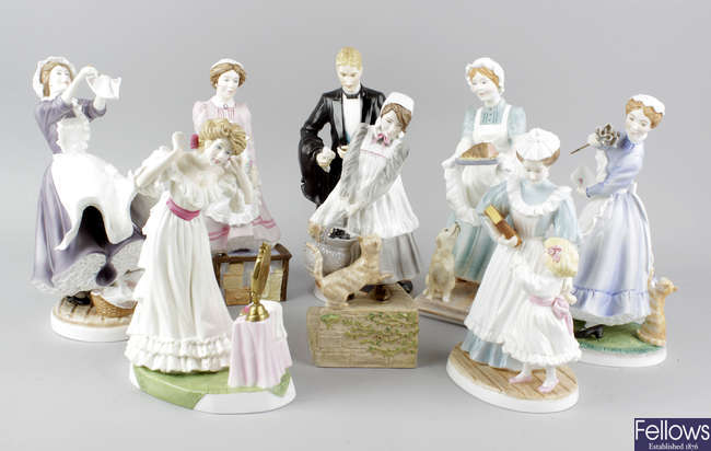 A group of eight Royal Worcester Upstairs Downstairs figurines.