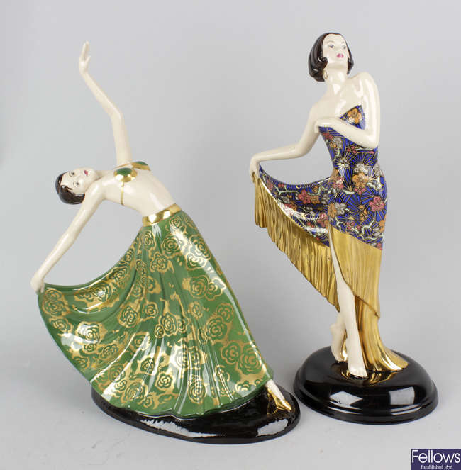 Two modern Coalport limited edition 'Art Deco' series figures.