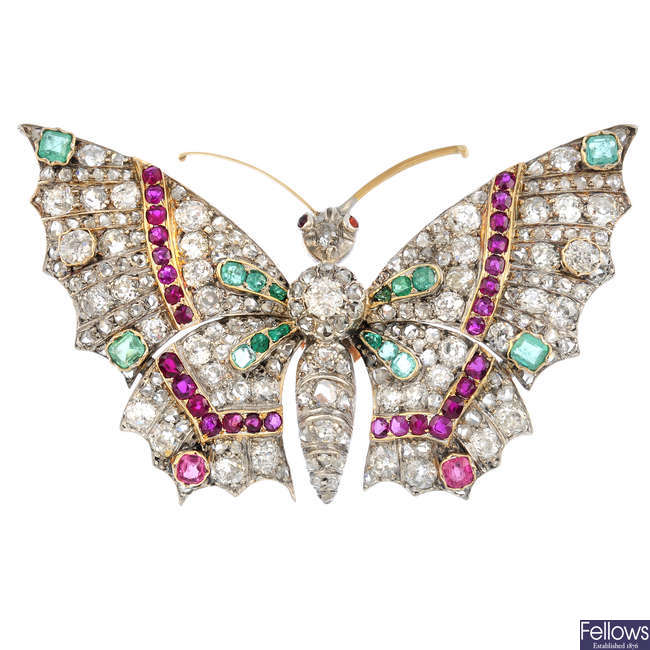 An early 20th century gold, diamond and gem-set butterfly brooch.