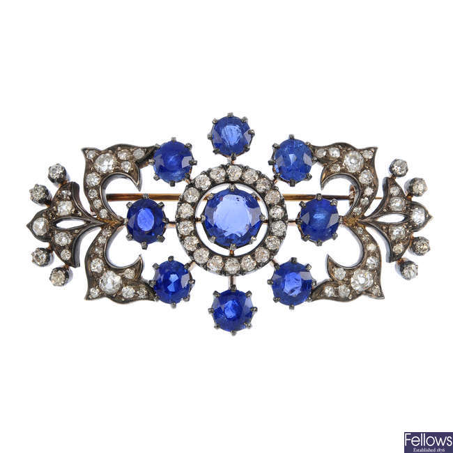 A Sri Lanka and Burma sapphire and diamond brooch.