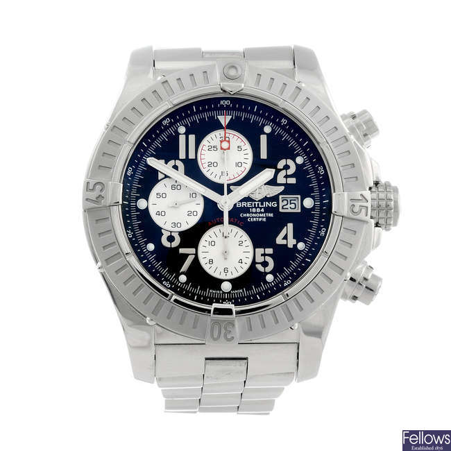 BREITLING - a gentleman's stainless steel Super Avenger chronograph bracelet watch.