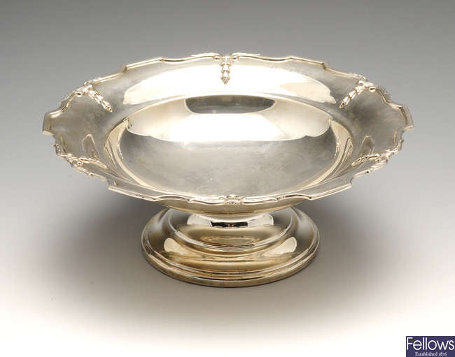 A 1930's plain silver footed dish.