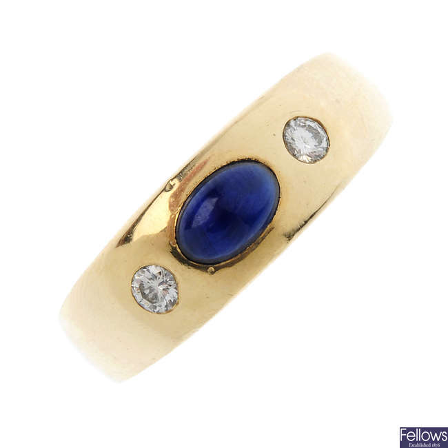 A 14ct gold sapphire and gem-set ring.