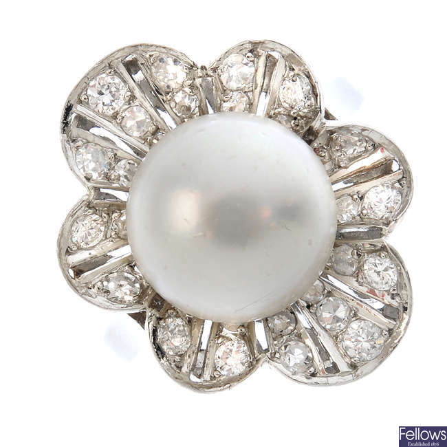 A cultured pearl and diamond floral ring.