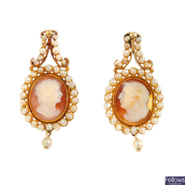 A pair of late Georgian shell cameo and seed pearl earrings.