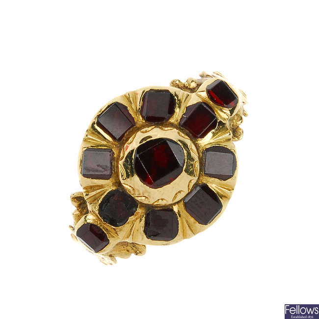A composite Georgian garnet ring.
