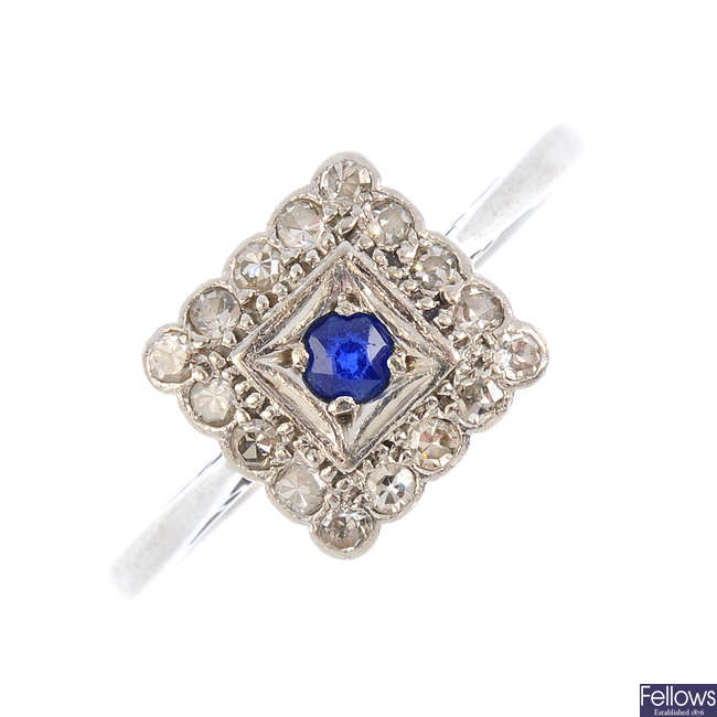 A mid 20th century sapphire and diamond cluster ring.