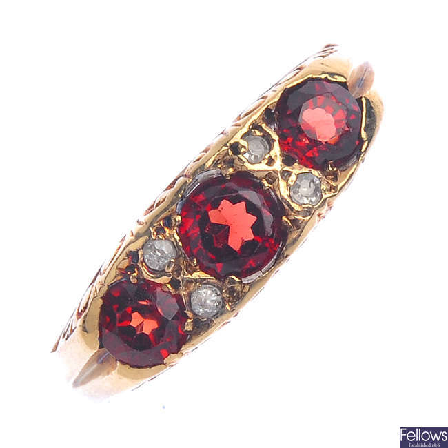A 9ct gold garnet and diamond ring.