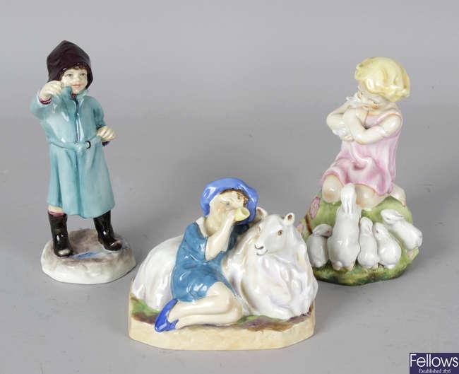 Six Royal Worcester porcelain figures