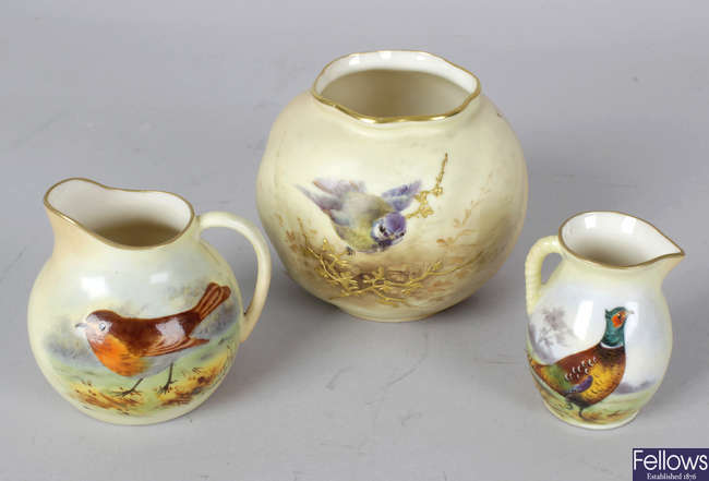 A group of seven Worcester bird-painted blush ivory porcelain items
