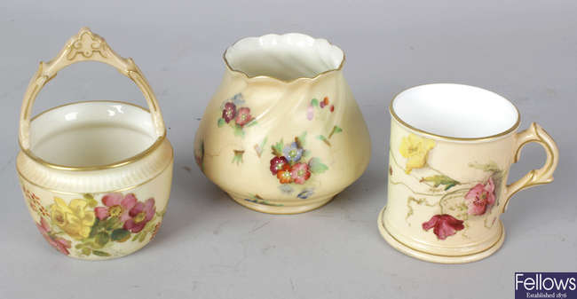 A group of Royal Worcester blush ivory porcelain items