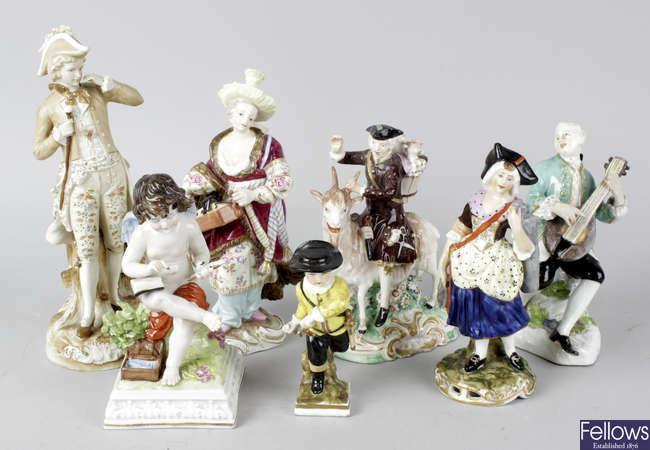 A group of seven porcelain figures