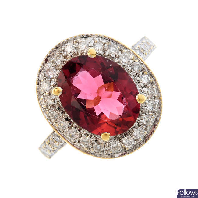 An 18ct gold tourmaline and diamond ring.