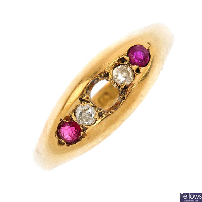 An early 20th century 18ct gold ruby and diamond ring and a cultured pearl pendant. AF.