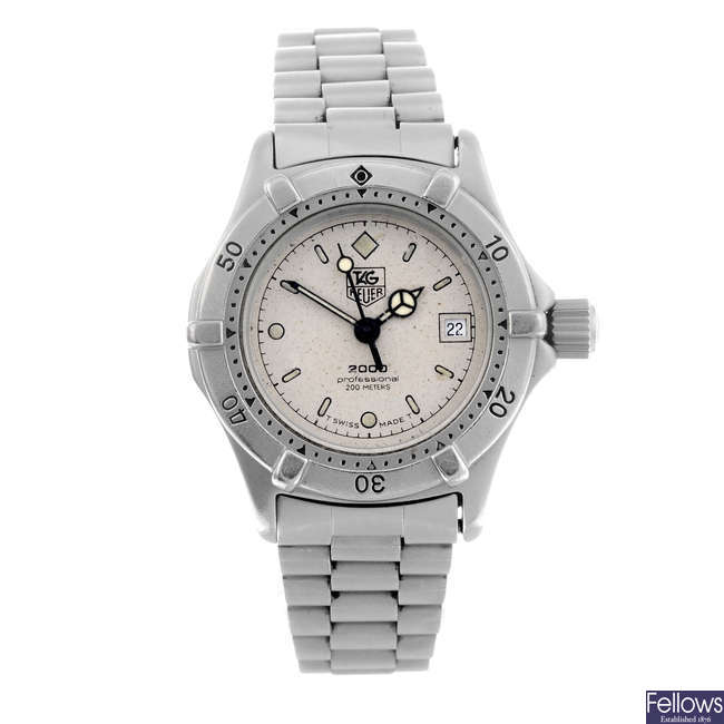 TAG HEUER - a lady's stainless steel 2000 Series bracelet watch.