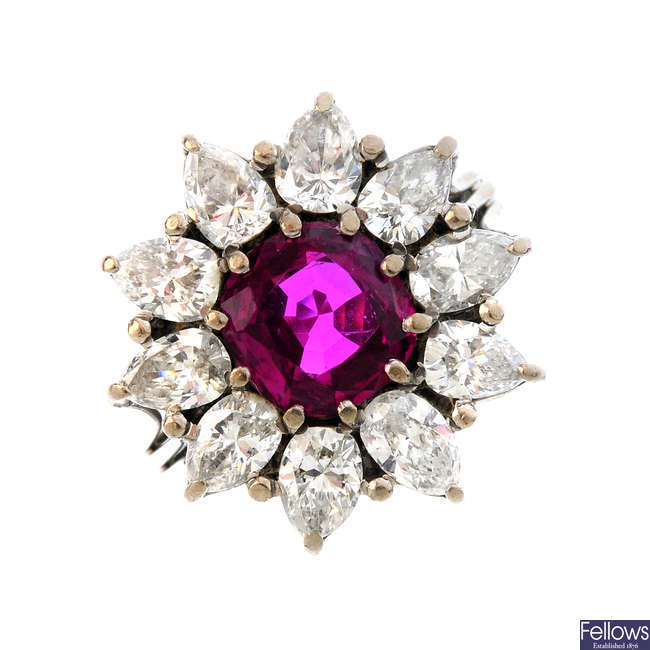 A Burma ruby and diamond floral cluster ring.