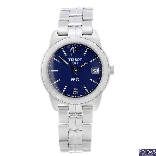 TISSOT - a gentleman's stainless steel PR50 bracelet watch.