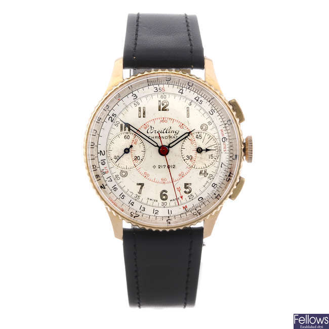 BREITLING - a gentleman's rose metal Chronomat chronograph wrist watch.