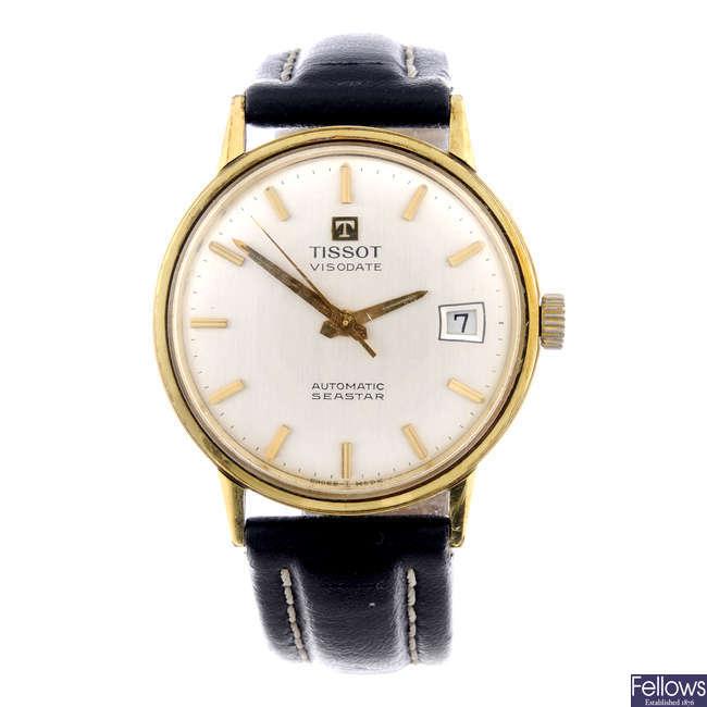 TISSOT - a gentleman's gold plated Seastar Visodate wrist watch.