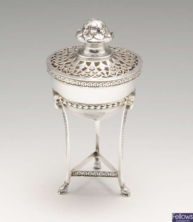An early 20th century small silver pot pourri vase & cover.