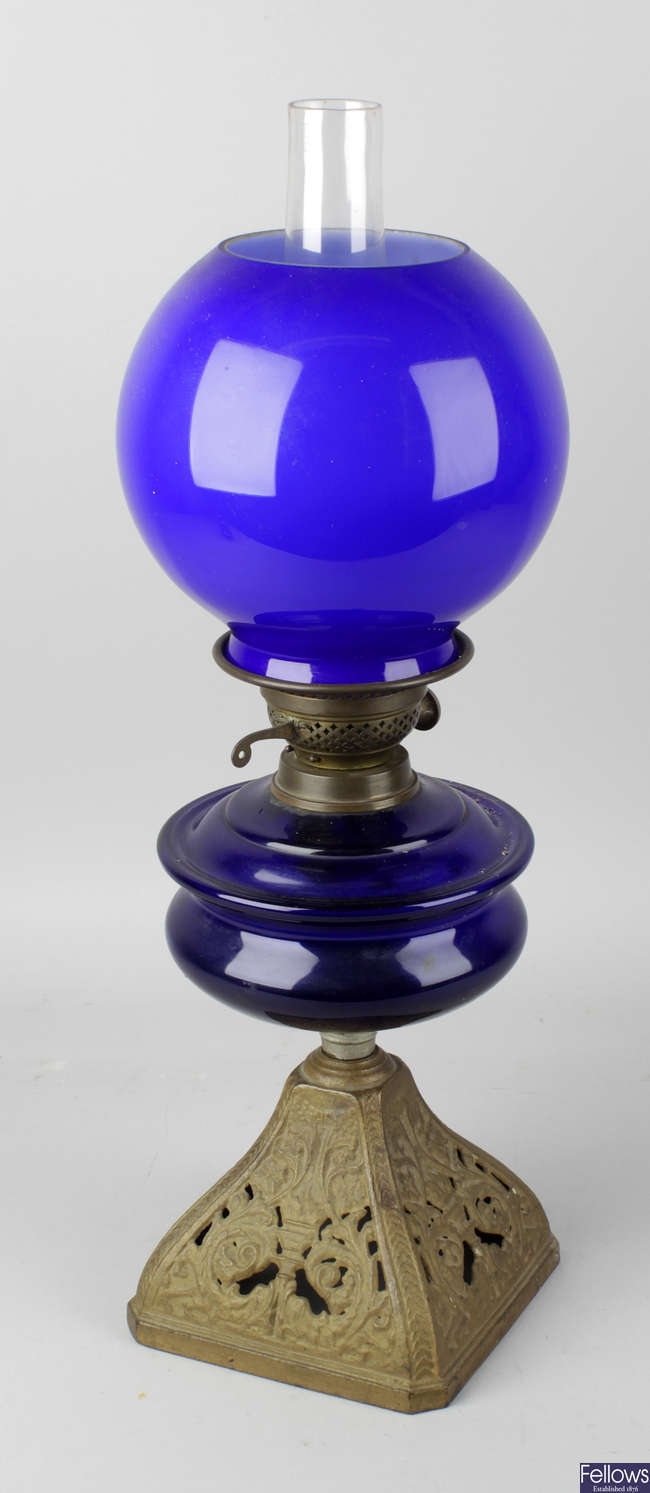 A late 19th century oil lamp.