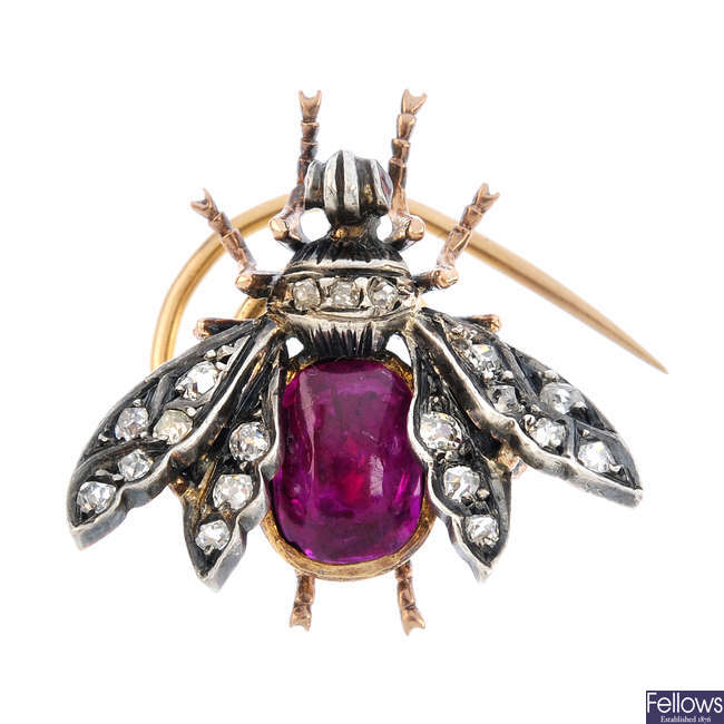 A late Victorian silver and gold, diamond and ruby fly pin.