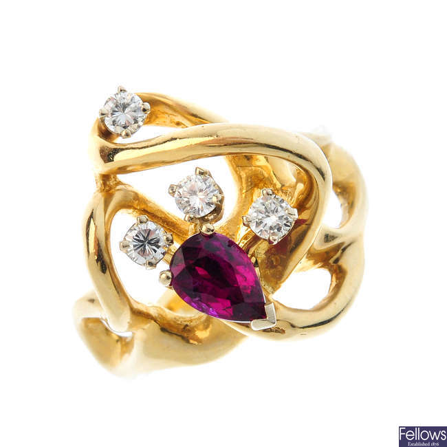 A ruby and diamond dress ring.