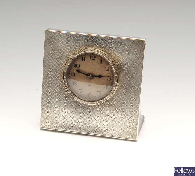 A 1920's silver mounted desk clock.