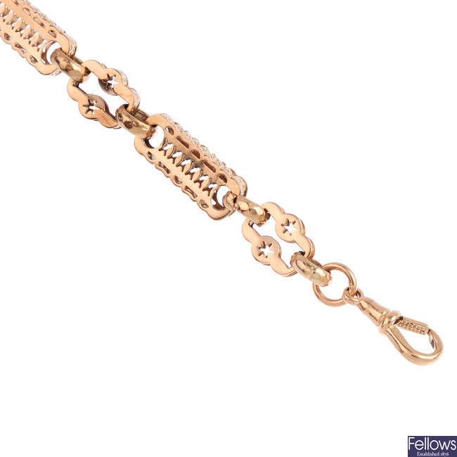 A 9ct gold fancy-link bracelet.