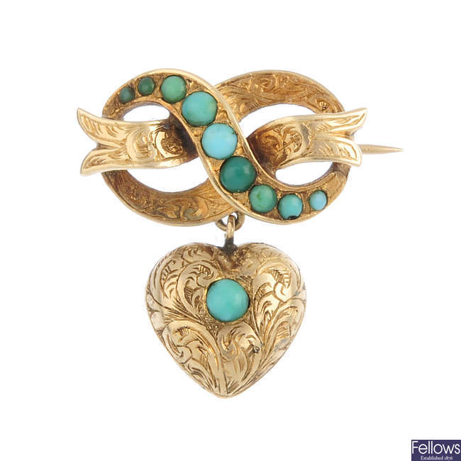 A mid Victorian gold and turquoise brooch.