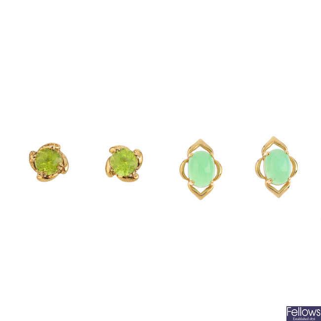 Nine pairs of gem-set earrings.