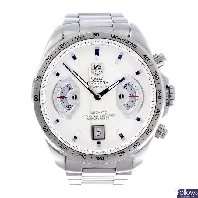 TAG HEUER - a gentleman's stainless steel Grand Carrera bracelet watch.