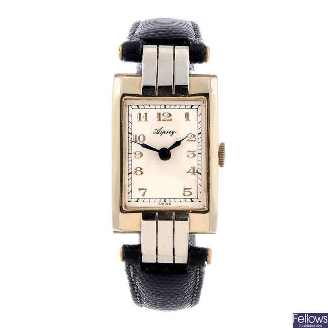 ASPREY - a gentleman's 9ct yellow gold wrist watch.